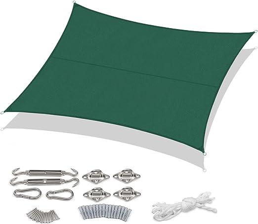 con corda libera e Kit di Fissaggio terrazza Party in Polyster 3*4m Taupe Campeggio Patio Traspirante Protezione Antivento con Protezione UV 95/% per Giardino Sekey Vela Parasole Rettangolare