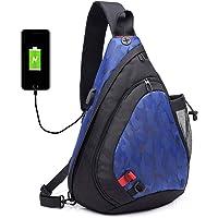 Popoti Bolso Mochila, Hombres Hombro Deporte de Cuero Daypack CrossbodyBolso de Bandolera Messenger Bag con Puerto USB para Viajes de Senderismo Outdoor