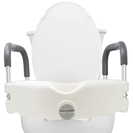 Raised Toilet Seat Elevated Medical Riser Bathroom Bath White Removable Safety