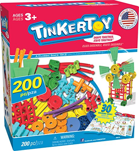 200 Piece Building Block (TINKERTOY 30 Model Super Building Set – 200 Pieces – For Ages 3+ Preschool Educational Toy)