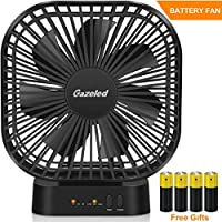 Gazeled Battery Operated Fan, Quiet Desk Fan with Timer, Small Portable Battery Fan, Powered by USB or 4 AA Batteries(Included), Perfect for Office and Home