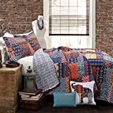 Lush Decor Décor Misha 5 Piece Quilt Set, King, Navy