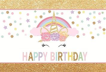 Aosto Photography Backdrop Birthday Party Baby Shower Child Photo Background Unicorn Desserts Cake Table Decor Photo dropsW-1998
