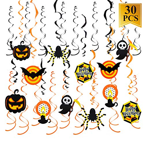 30Pcs Halloween Hanging Swirl Decorations Bats Spiders Pumpkins Swirl Ceiling Hanging Decoration,Mufti-Color for Halloween Party Supplies -
