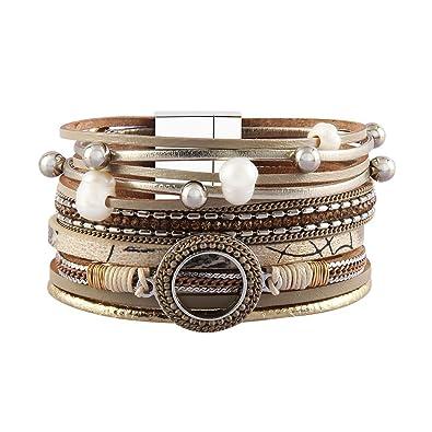 96673cf75a8 Bfiyi Inspirational Leather Cuff Bracelets Pearl Bangle Silver Beads Bohemian  Bracelet for Women,Girls,