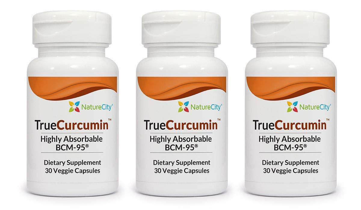 TrueCurcumin Supplement with Essential Turmeric Oil - Highly Absorbable BCM-95-30 Veggie Capsules - 3 Pack