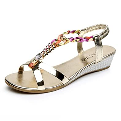 be4cdf5e1b5f5a Halijack Women s Summer Sandals Boho Rhinestone Peep Toe Sandals Elastic  T-Strap Round Toe Wedges