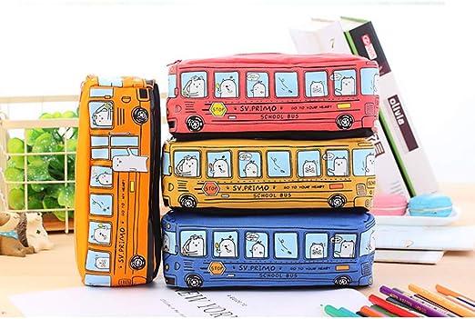 Sunshine D Cute Bus - Estuche para lápices, diseño de autobús, tamaño grande, con cremallera, para niños, niñas y adolescentes, color rosso: Amazon.es: Oficina y papelería