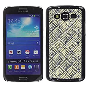 LECELL--Funda protectora / Cubierta / Piel For Samsung Galaxy Grand 2 SM-G7102 SM-G7105 -- Pattern Vintage Vignette Blue Wallpaper --