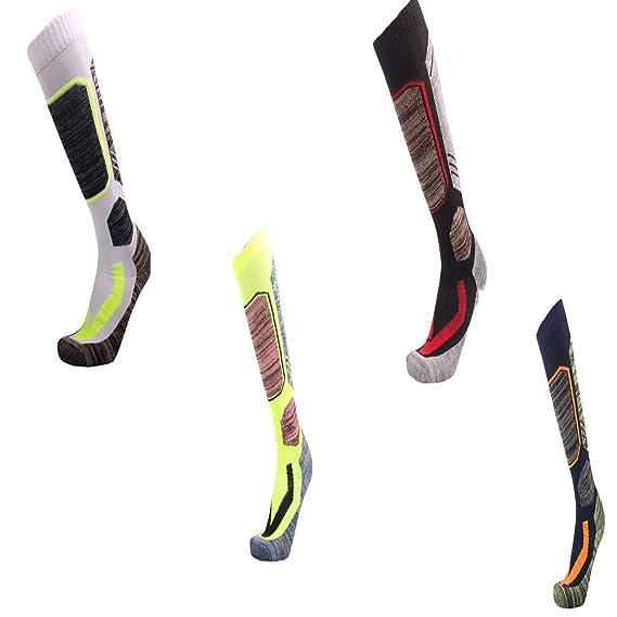 SonMo Calcetines de Deporte Calcetines Ciclismo Hombres Largos Calcetines Algodón Calcetines Color Negro Blanco Azul Oscuro Verde 4 Pares: Amazon.es: Ropa y ...