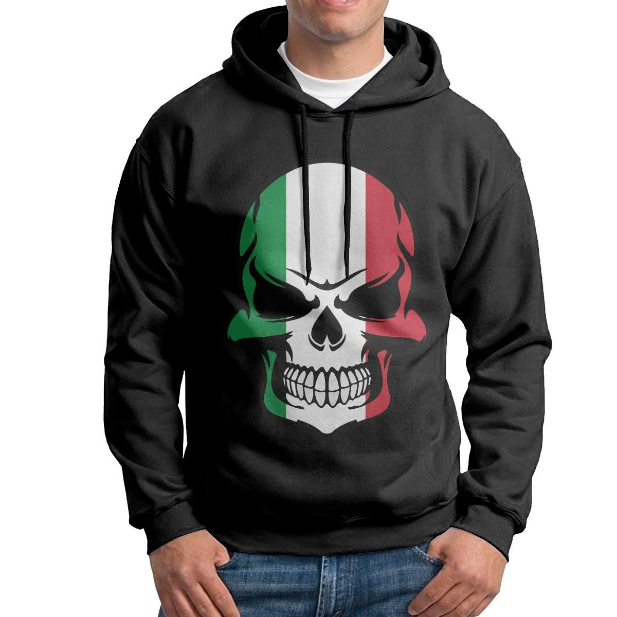 Boys Italian Flag Skull Patterns Print Athletic Pullover Tops Fashion Sweatshirts