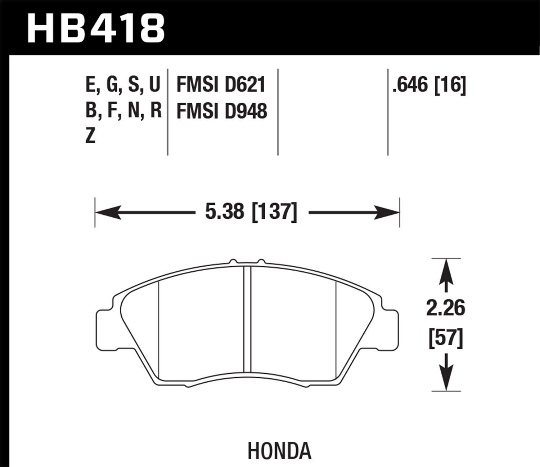 Hawk Performance HB418G.646 Disc Brake Pad