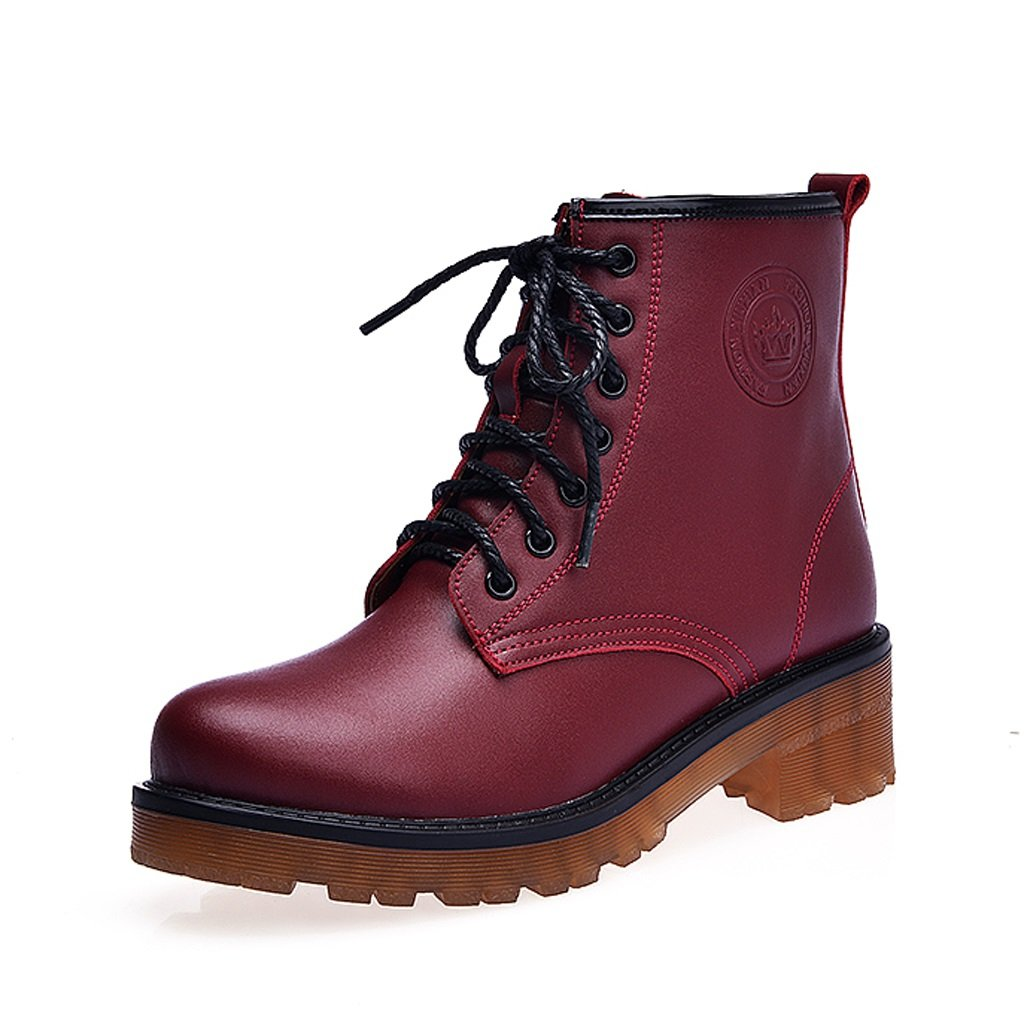 Women's Martin boots autumn and winter genuine leather boots personality tide shoes ( Color : Red , Size : US:6UK:5EUR:37 )