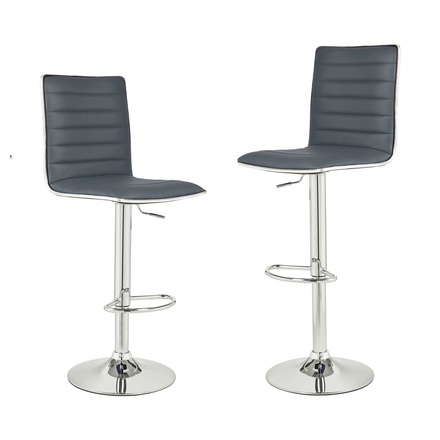 Fantastic Asense Adjustable And Rotation Bar Stools With Back Bar Chair Set Of Two Pu Dark Grey Machost Co Dining Chair Design Ideas Machostcouk