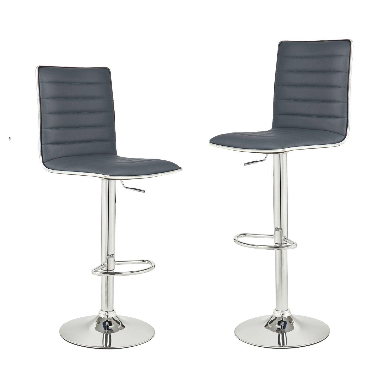 Brilliant Asense Adjustable And Rotation Bar Stools With Back Bar Chair Set Of Two Pu Dark Grey Beatyapartments Chair Design Images Beatyapartmentscom