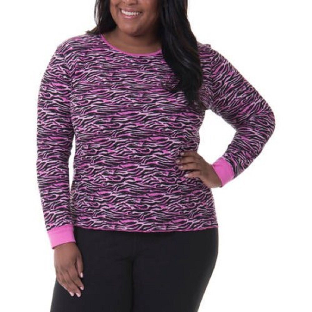 Fruit of the Loom Womens Plus Size Fit for Me Waffle Thermal Crew Top