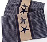 INDIA OVERSEAS Starfish Kitchen Towels: Waffle Weave with Stripes, Set of 2