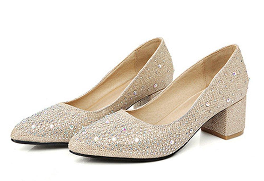 Aisun Damen Fashionable Strass Low Cut Blockabsatz Pumps Gold 39 EU ea0Zoz
