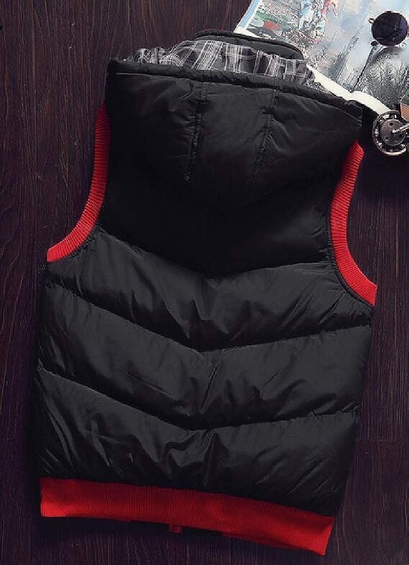 Jaycargogo Mens Vest Removable Hooded Quilted Warm Sleeveless Jacket Vests