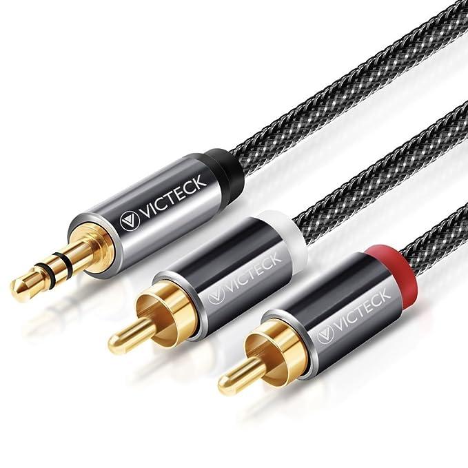 Cable Audio RCA,Victeck Nylon Trenzado 3,5mm Jack Macho a 2 RCA Macho Conectores Estéreo Cable (3 Metros): Amazon.es: Electrónica