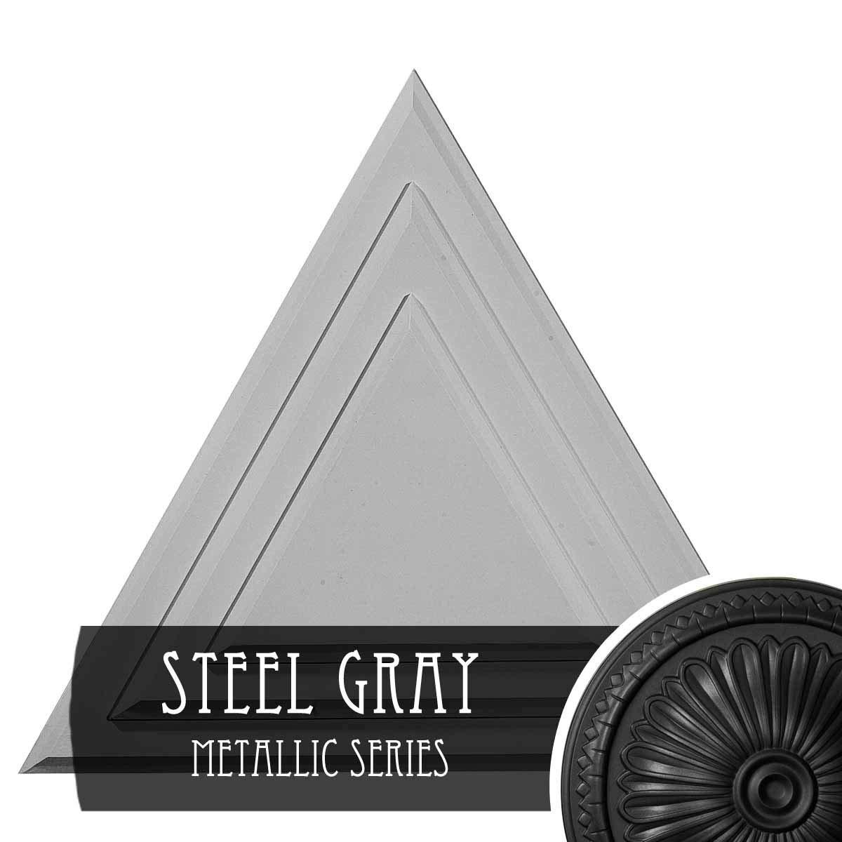 Ekena Millwork CM19TGSGS Triangle Ceiling Medallion, Steel Gray