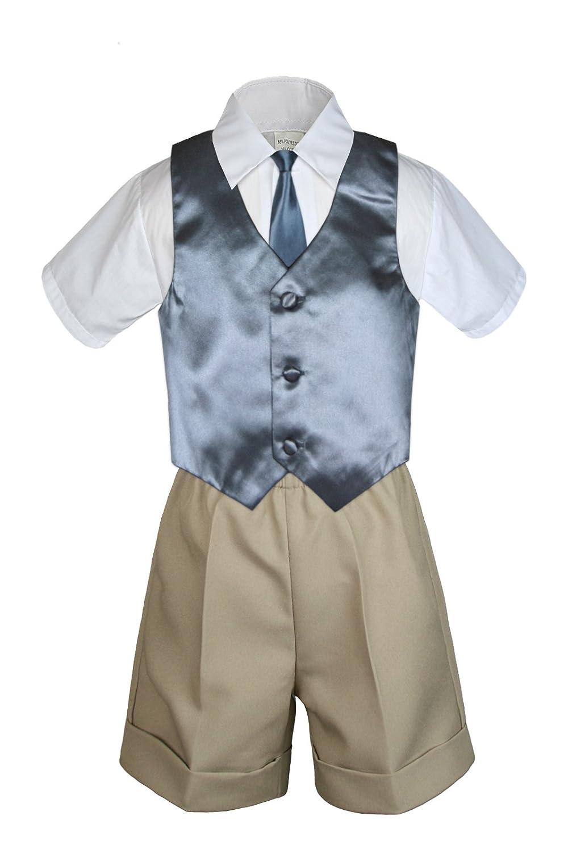 Unotux 7pc Baby Boy Khaki Formal Shorts Check Suits Extra Vest Necktie Sets S-4T
