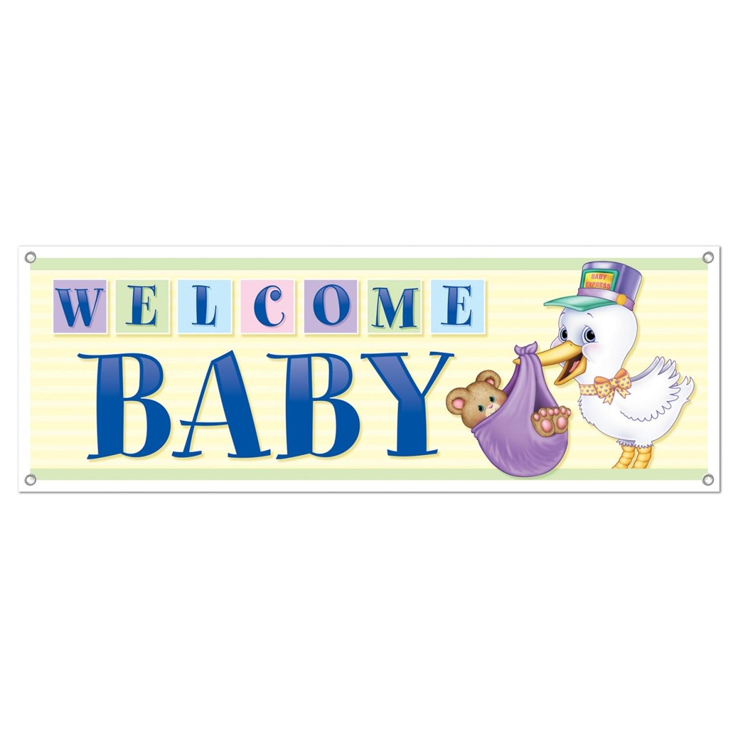 Club Pack of 12 Welcome Baby Sign Banner All-Weather 60''
