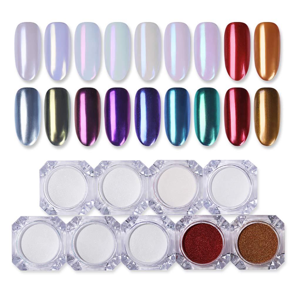 Betere Amazon.com : BORN PRETTY 9 Boxes Pearl Powder Nail Mirror Effect CR-74