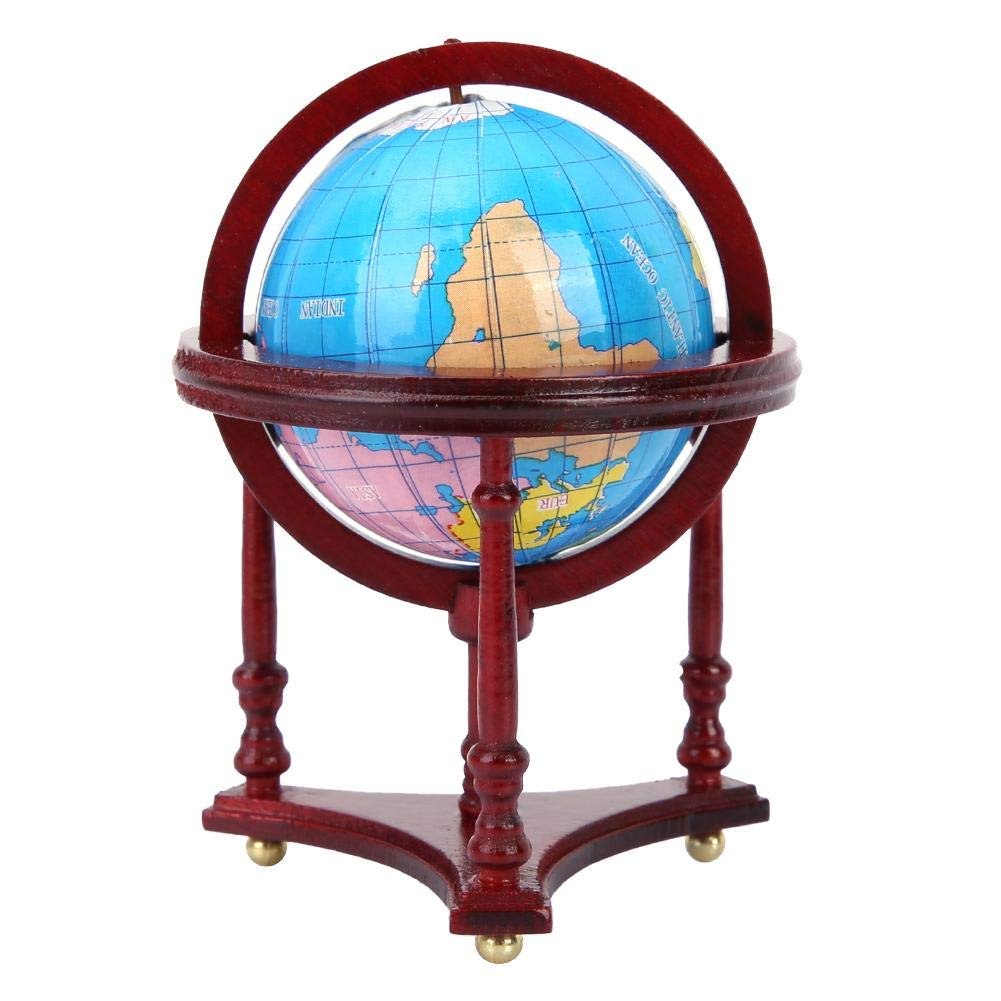 Tnfeeon Dollhouse Accessories, 1:12 Miniature Wood World Globe Dollhouses Decoration Perfect Stand Dollhouse Furniture Suitable for Living Room Pretend Play Dollhouse Toy