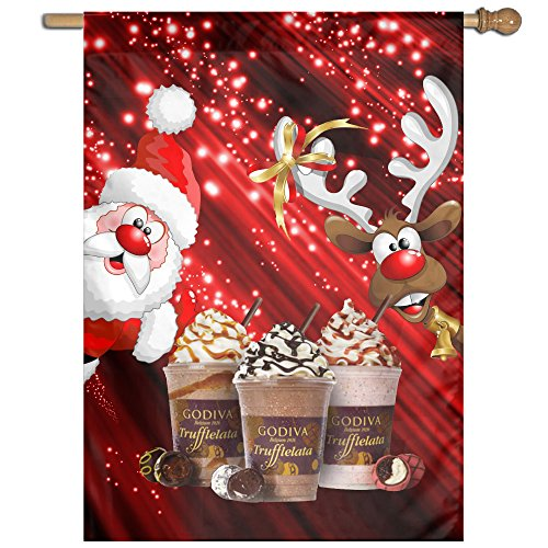 Yex Decorative Garden Flag Santa Claus And GODIVA House Party Sports Game Banner One Size