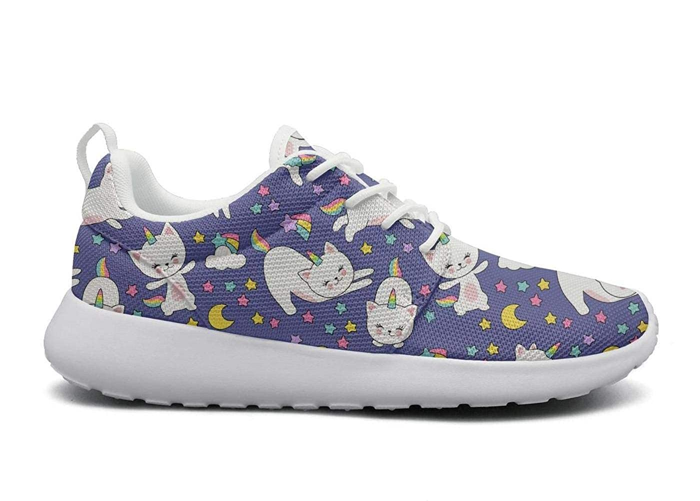 Womens lightweight Athelitic Running shoes Cute cats unicorn Moon lace-up breathable fitness sneakers