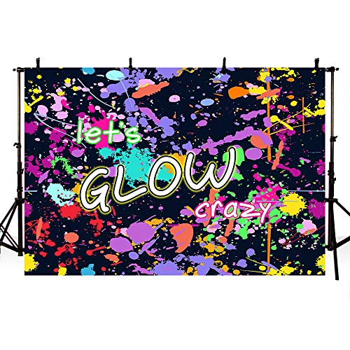 MEHOFOTO Neon Let's Glow Crazy Splatter Graffiti Photo Studio Booth Background Adult Birthday Glowing Sleepover Party Decorations Banner Backdrops for Photography 7x5ft -