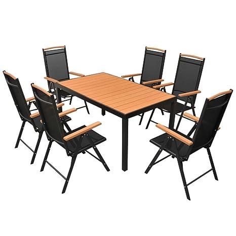 Tavolo Da Giardino Moderno Pieghevole.Festnight Set Tavolo Rettangolare E Sedie Pieghevoli Con Schienale