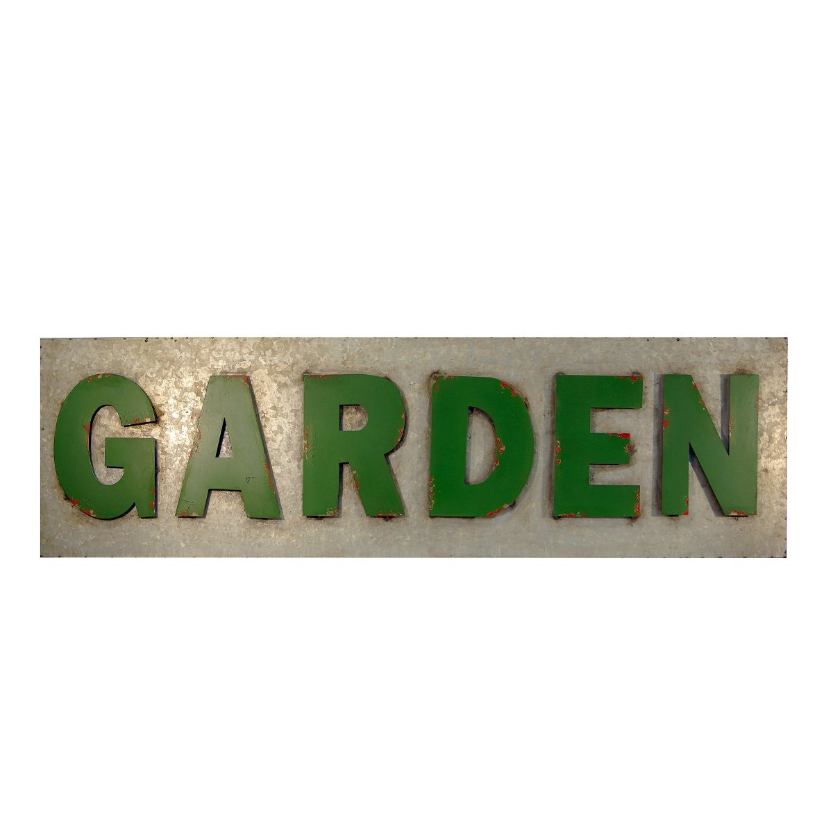 VIP Home & Garden 50'' Long Rustic Metal Outdoor Garden Sign - Outside Porch Patio Wall Decor Art