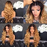 Full Lace Body Wave Human Hair Wigs Glueless Lace Front Wig 1B/27 Color 180% Density with Baby Hair for Black Women (24', full lace wig)