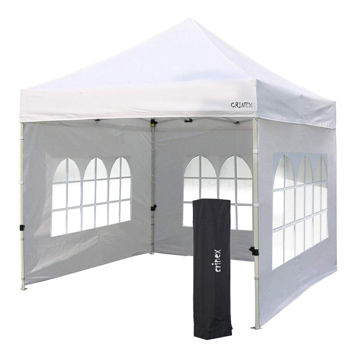 CRINEX 10x10 Canopy Tent White, Pop Up Portable Shade Instant Folding Outdoor Gazebo Canopy Tent with 3 Removable Side Walls and Carry Bag(2019 Upgrade)