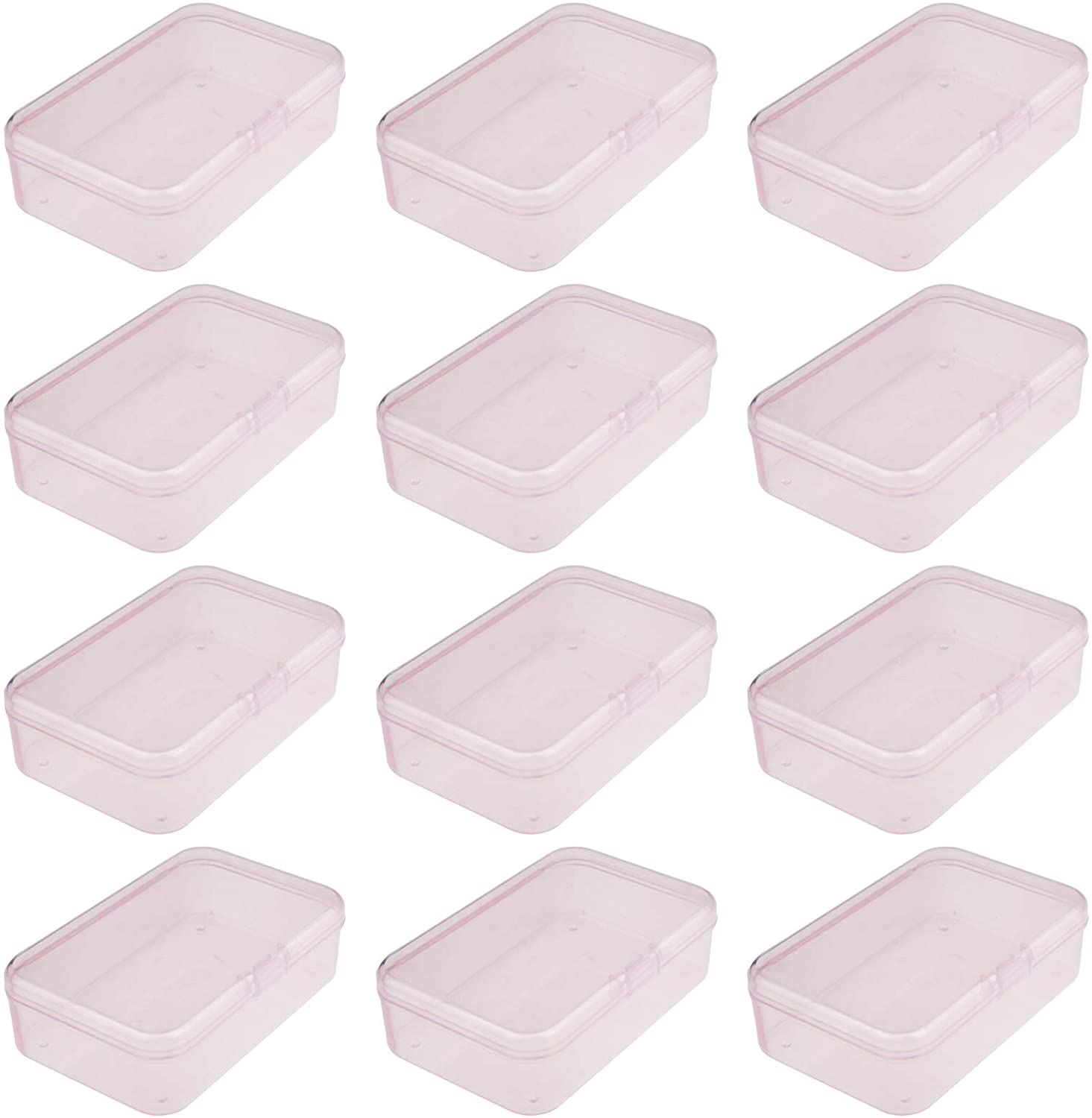 Pink, 85 x 55 x 25 mm Goodma 12 Pieces Rectangular Plastic Boxes Empty Storage Organizer Containers with Hinged Lids for Small Items and Other Craft Projects