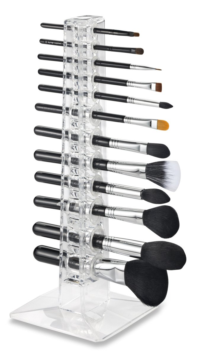 Alegory Acrylic Makeup Brush Organizer, 12 Spaces - Clear