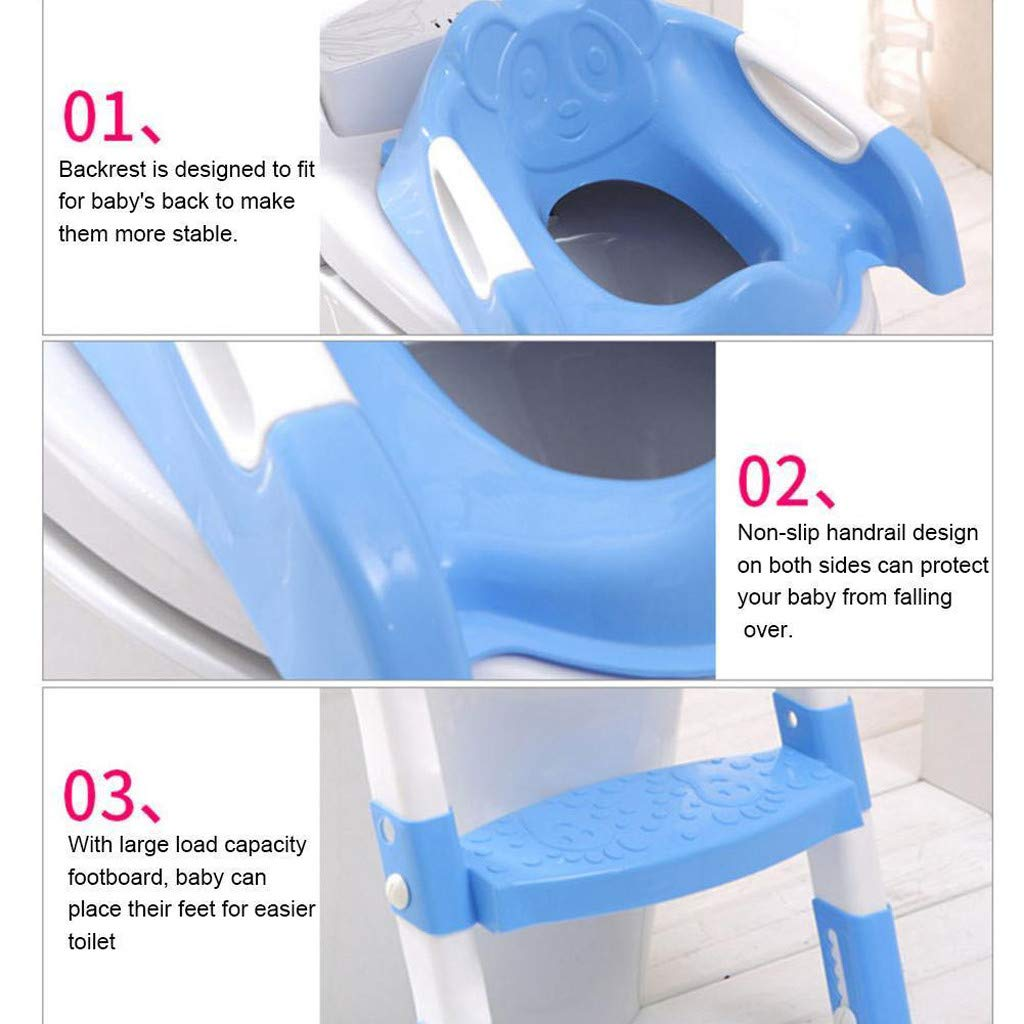 Baby Potty Toilet Training Seat by HP95, Folding Toddlers Bathroom Training Chair Cover for Toilet - Boys & Girls Toilet Training Seat Ladder with Wide Step (A, Blue) by HP95_Baby Supplies (Image #7)