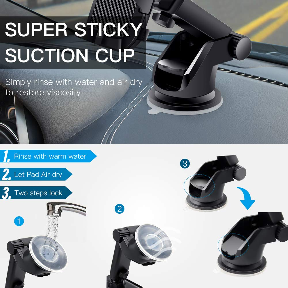 "Veroyi Car Phone Mount, 3-in-1 Extendable Dashboard Windshield Car Air Vent Cell Phone Holder, One-Button Release Design, Compatible with 4-6.5"" Mobile Phone Devices"