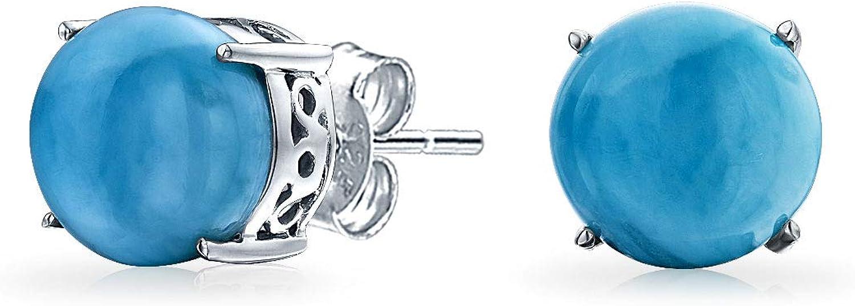 Larimar Piedras Preciosa Redonda Azul Simple Solitario Pendiente De Boton Para Mujer 925 Plata De Ley 925