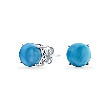 37734720e Image Unavailable. Image not available for. Color: Simple Blue Larimar  Gemstone Round Solitaire Stud Earrings For Women 925 Sterling Silver