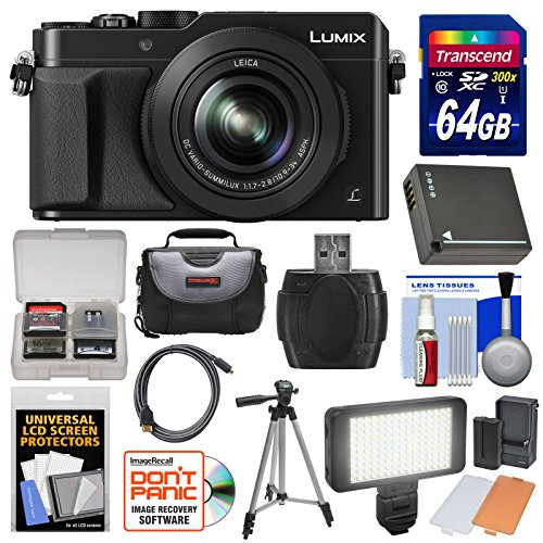 Panasonic Lumix DMC-LX100 4K Wi-Fi Digital Camera (Black) with 64GB Card + Case + Video Light & Flash Set + Battery + Tripod + (Black Digital Camera Kit)