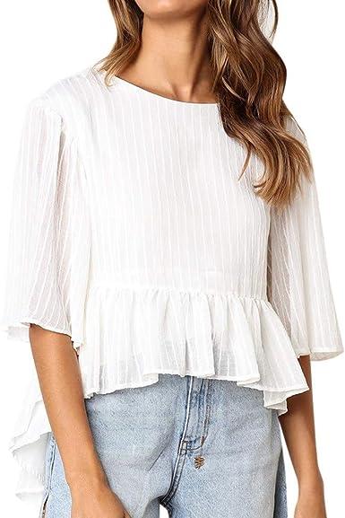CyloneYY Tops Media Manga Mujer, Blusa Suelta de Mujer, Camiseta de Verano Camisa Casual de Mujer Camisa Stretch Tumblr Detalles Verano Elegantes Blanco XXL: Amazon.es: Ropa y accesorios