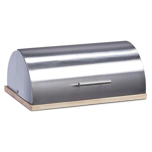 Zeller 20475 - Panera de acero inoxidable y tabla de ficus (39 x 29 x 16 cm)