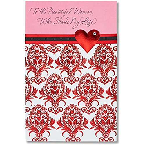 Beautiful Woman Sentimental Valentine's Day Card for Her with Rhinestone Sales