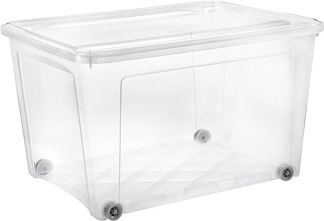 Tontarelli - Caja almacenaje 145 l c/Tapa y Ruedas Combi Transparente: Amazon.es: Hogar