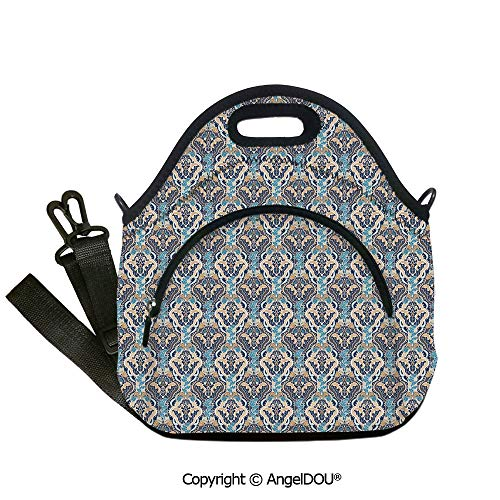 AngelDOU Asian Neoprene Lunch Tote bag With shoulder strap Vintage Eastern Abstract Floral Pattern with Leaves Grid Style Lines Outdoor Travel Picnic Beach Party.12.6x12.6x6.3(inch)]()