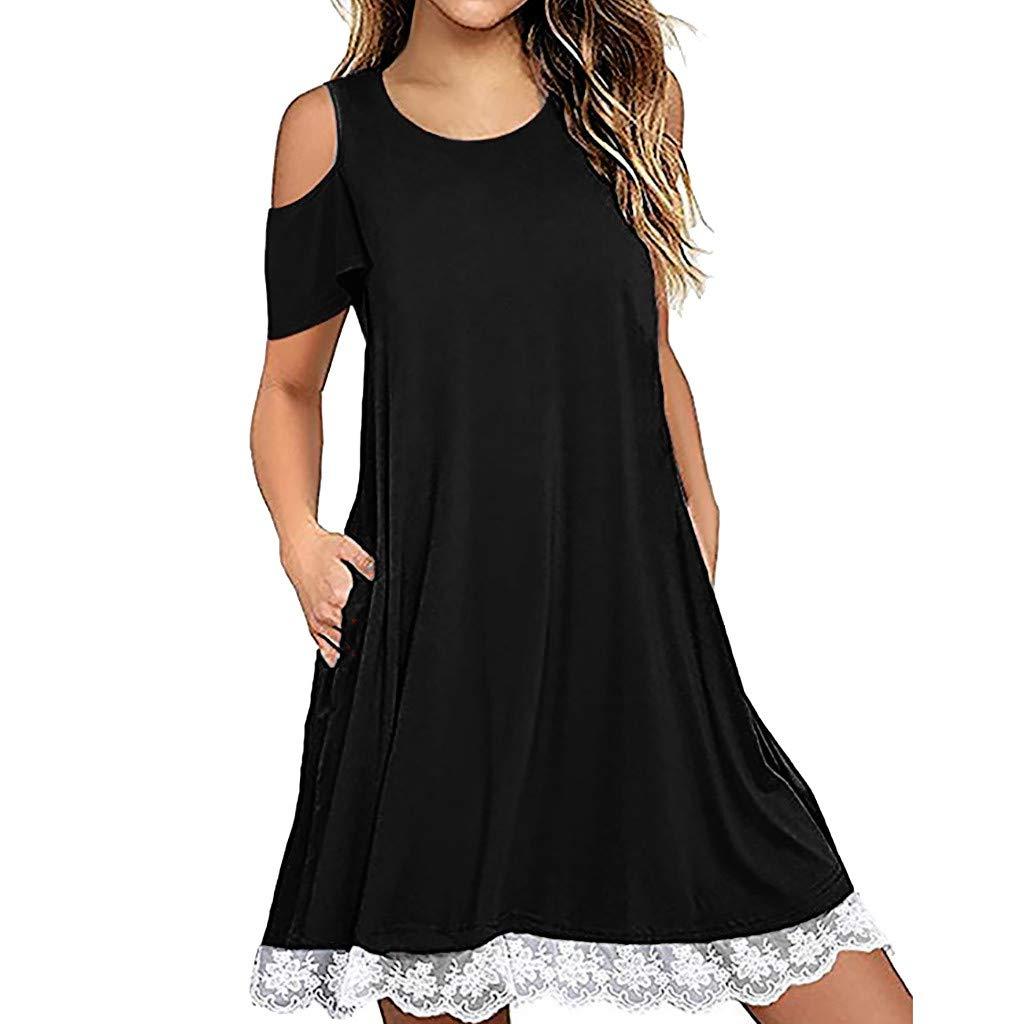 Hattfart Women's Summer Short Sleeve Cold Shouler Lace Hem T-Shirt Loose Dress with Pockets (M, Black)