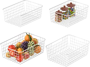 Wire Storage Basket, Packism Metal Household Storage Organizer Bin with Handles for Pantry, Shelf, Freezer, Kitchen Cabinet, Bathroom, 4 Pack, White
